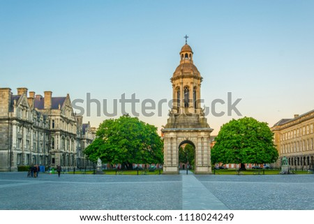 Campanile inside of the trinity college campus in Dublin, ireland