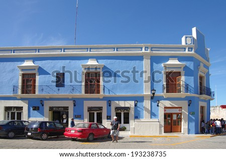 CAMPECHE, MEXICO, 02 DECEMBER 2011: Colonial architecture in Campeche, Mexico, 02 December 2011. Campeche is a mexican city protected by UNESCO