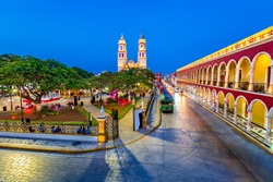 Campeche, Mexico, Independence Plaza, tourist trains and Conception Cathedral. Old Town of San Francisco de Campeche