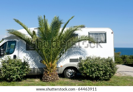 Camper at a camping next to a palm tree and at the background the sea