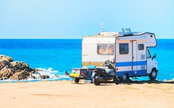 Camper at Capo Pecora resort at the Mediterranean sea, Sardinia, Italy