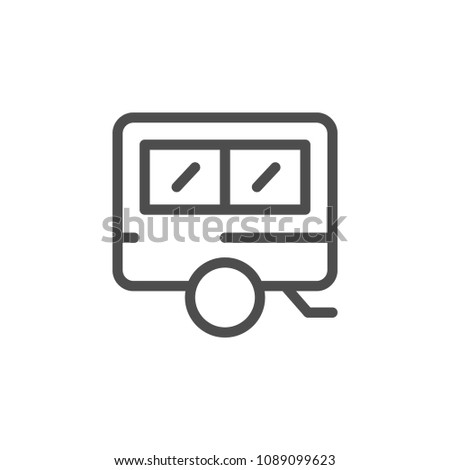 Camper line icon isolated on white