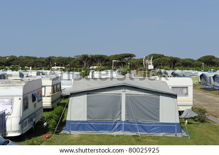 Campers and caravans at a camping in Spain