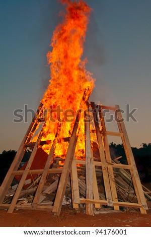 campfire at dusk