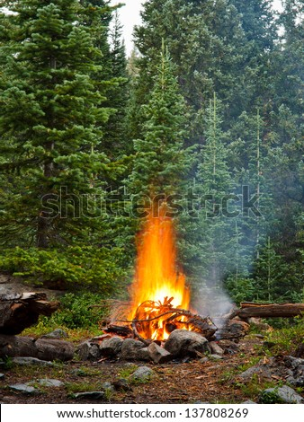 Campfire at Wilderness Campsite in the Rocky Mountains, Colorado