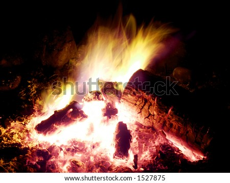 Campfire Glows in the Night