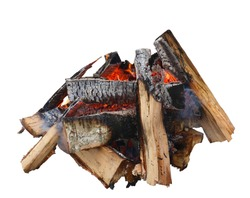 Campfire isolated on white background. Closeup of pile of birch firewood burning with orange flames.