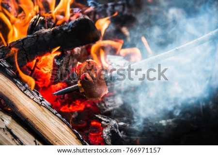 Campfire relax around fire place with friends concept background. Half eaten frankfurter sausage or knockwursts grilling on wooden rod held by summer adventurer above red hot charcoal and fire flames