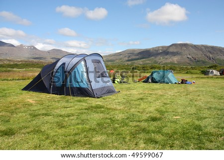 Campground in Thingvellir - famous tourist area in Iceland. Summer camping.