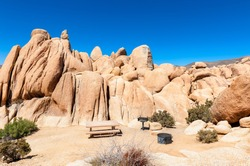 Campground with Picnic Table and Barbecue Grills in Joshua Tree National Park, California, USA