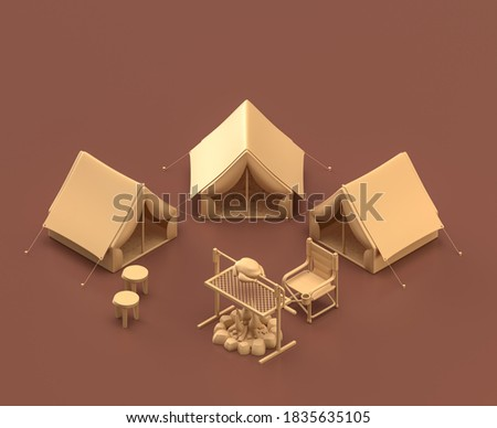 Camping area with tents.Isometric camping objects and scenes, monochrome yellow camping equipment on brown background, 3D Rendering, hunting and camping