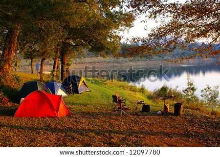 Camping at lake side