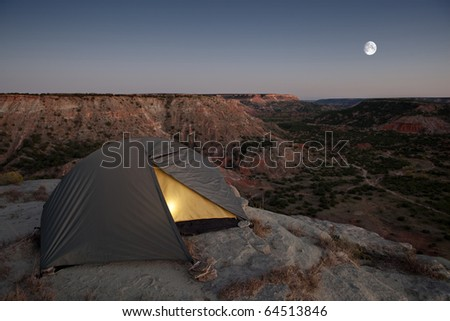 Camping at the Canyon, with light in tent.