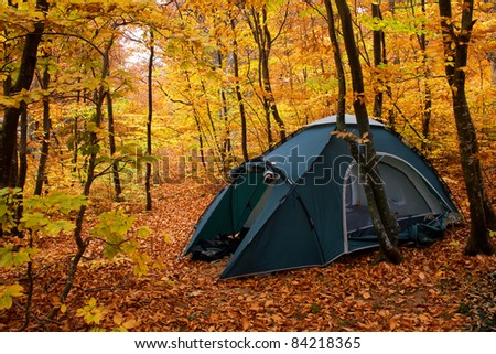 Camping equipment. Tent in the autumn forest