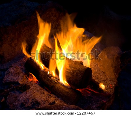Camping fire - stock photo