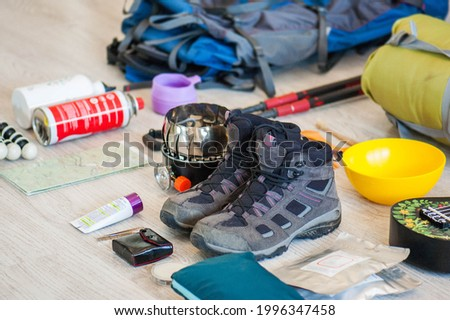 Camping gear and equipment. Arranging of objets concerning backpacking, trekking and hiking. Photo stock ©