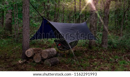 Camping Hammock with Raincover at Sunrise	 #1162291993