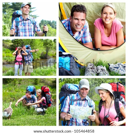 Camping. Happy couple tourists. Summer collage.