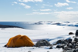 Camping in Antarctica.