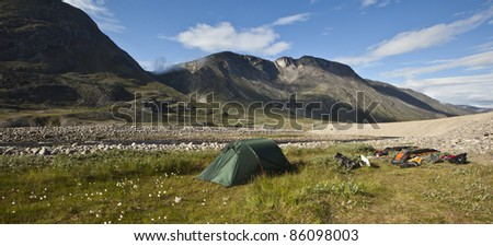 Camping in arctic tundra, Greenland