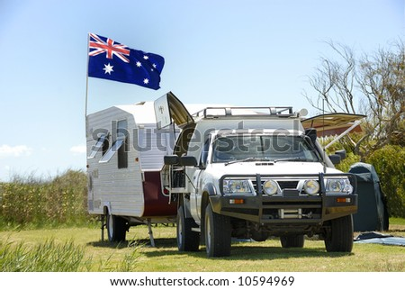 Camping in Australia - stock photo