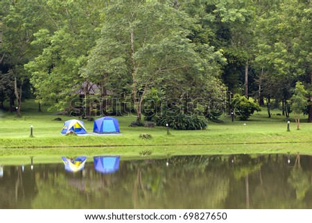 Camping in forest