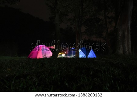 Camping in the tranquil night forest with 2 camps, pink camps and blue camps.  With a little light #1386200132