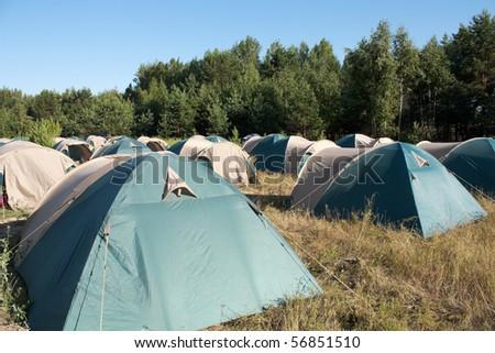 Camping. Many tents. Nobody. Summer. #56851510