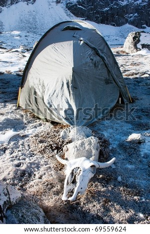 camping on mountain in himalayas - nepal - stock photo