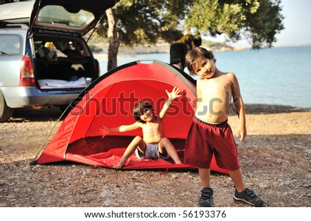 Camping on sea together - stock photo