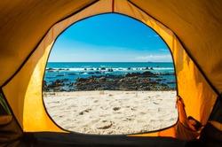 Camping on the Atlantic ocean coast beach in Alentejo, Portugal