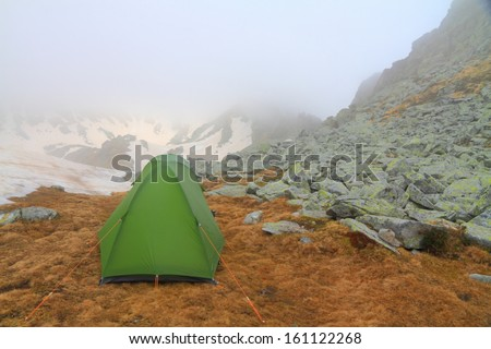 Camping on the mountain in spring time