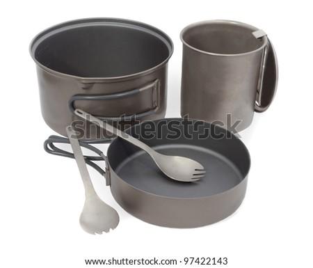 Camping Pot, Spork, Cup and Frying Pan Cookware for Mountain Camping, Titanium Metal