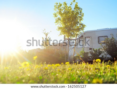Camping site in the morning sun