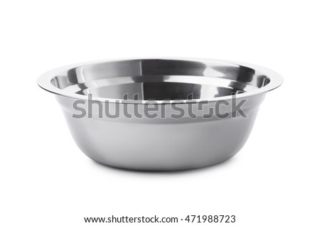 Camping stainless steel bowl isolated on white background #471988723