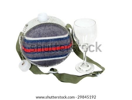 Camping style canteen with carrying strap to keep hydrated while outdoors and a wine glass - path included