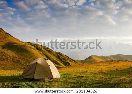 Camping tent in a morning light. Caucasus. Georgia