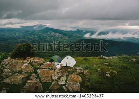 Camping tent in the mountains #1405293437