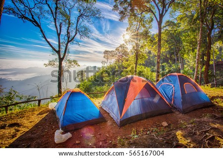 Camping tent in the top of mountain in the morning #565167004