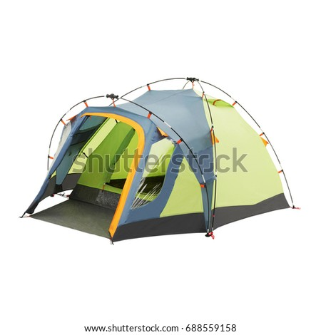 Camping Tent Isolated on White Background. Green Dome Tent. Person Tent. Alpine Tent. Camping Equipment #688559158