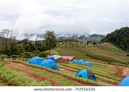 Camping tent on the mountain in mist at Nan Province Thailand. #742956520