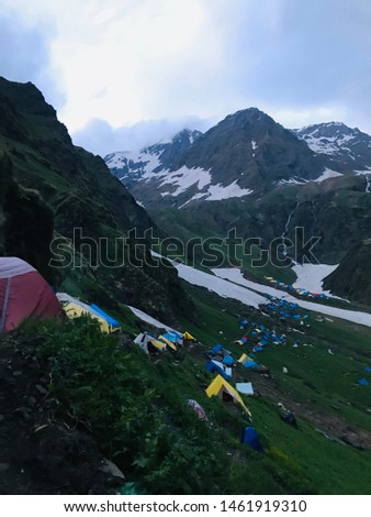 Camping tent with mountain  background. #1461919310