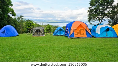 Camping tents on the mountain #130365035