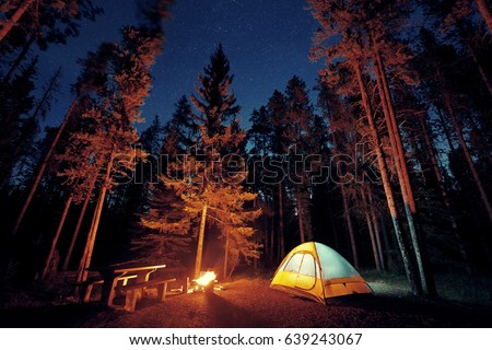 Camping under stars with bonfire and tent in Banff National Park