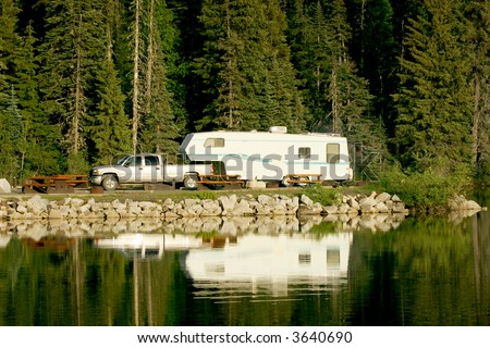 Camping with RV trailer on Meziadin Lake, British Columbia, Canada