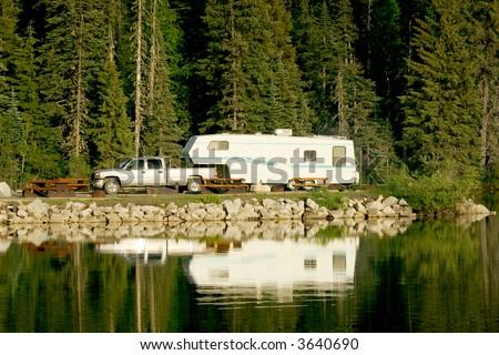 Camping with RV trailer on Meziadin Lake, British Columbia, Canada