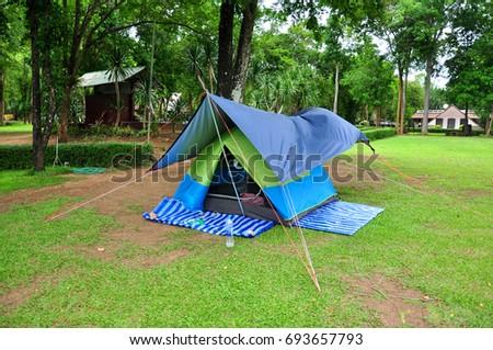 Camping zone at Huay Mae Khamin Waterfall, Kanchanaburi, Thailand #693657793