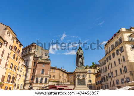 Shutterstock Campo de' Fiori with the monument to philosopher Giordano Bruno with daily market