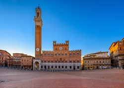 Campo Square (Piazza del Campo), Palazzo Pubblico and Mangia Tower (Torre del Mangia) in Siena ,Province of Siena, Tuscany, Italy. Architecture and landmarks of Siena