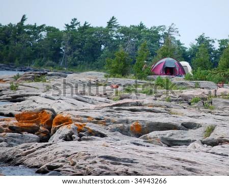 Campsite on a rocky island